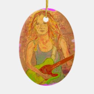 folk rock girl screenprint look ornaments