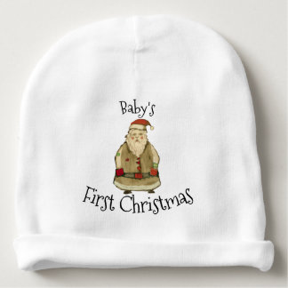 Folk Santa Baby's First Christmas Personalize Baby Beanie