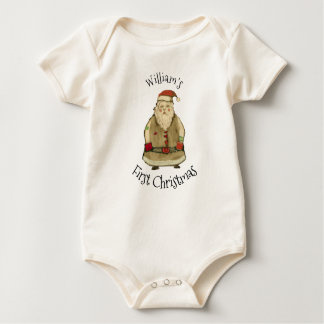 Folk Santa Baby's First Christmas Personalize Baby Bodysuit