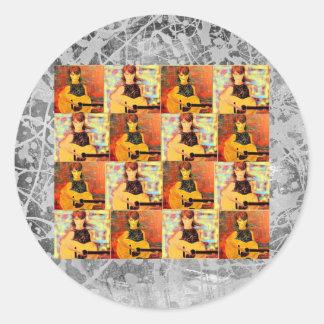 folk singer girl collage silver drip round sticker
