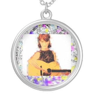 folk singer girl drip round pendant necklace