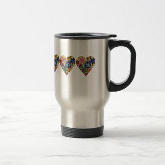 Folk Style Floral Love Heart Coffee Mug