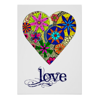 Folk Style Floral Love Heart Poster