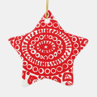 Folk Theme Ceramic Star Ornament