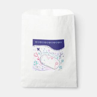 Folk wedding edition / blue, white favour bag