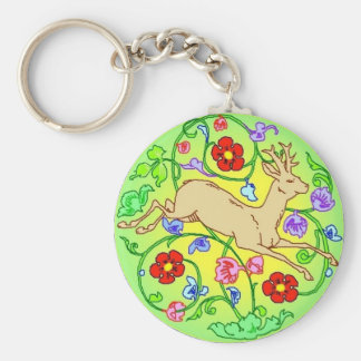 Folkart Deer Buck Running Through a Garden Keychain