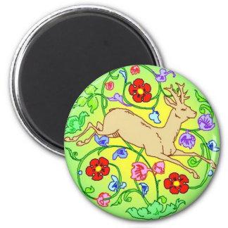 Folkart Deer Buck Running Through a Garden 2 Inch Round Magnet