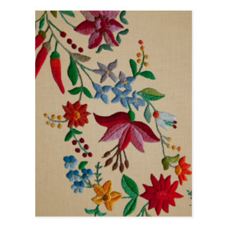 Folkart Flower Embroidery on Linen Look Backing Postcard