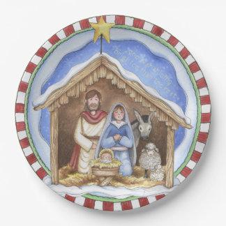 Folkart Nativity Paper Plates