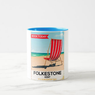 Folkestone Kent vintage seaside poster Two-Tone Coffee Mug