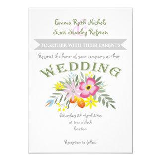 Folklore pink flowers modern floral wedding card