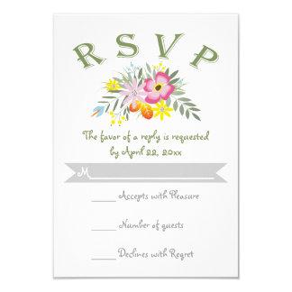 Folklore pink flowers modern floral wedding RSVP Card