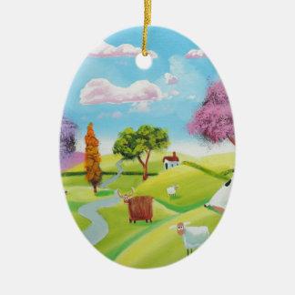 Folks art landscape painting ceramic oval ornament