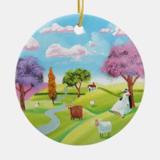 Folks art landscape painting round ceramic ornament