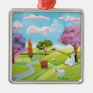Folks art landscape painting Silver-Colored square ornament