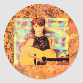 folksinger acoustic gal drip round sticker