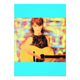 """folksinger girl 5"""" x 7"""" invitation card"""