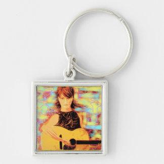 folksinger girl keychain
