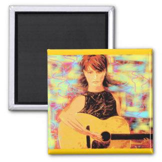 folksinger girl (yellow brown) magnet