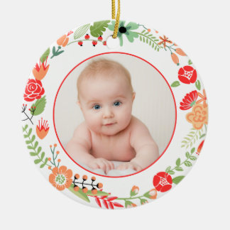 Folksy Floral Photo Ornament