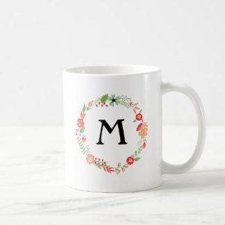 Folksy Floral with Monogram Basic White Mug