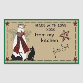Folksy Snowman and Cats Treat Labels