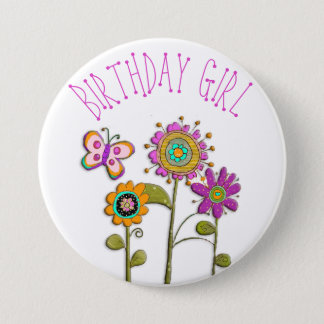 Folksy Whimsical Floral Birthday Girl Button