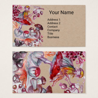 FOLLET OF MUSHROOMS Red White Floral Fantasy Kraft Business Card