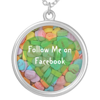 Follow Me on Facebook-Candy Hearts with New Saying Round Pendant Necklace