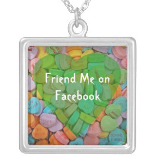 Follow Me on Facebook-Candy Hearts with New Saying Silver Plated Necklace