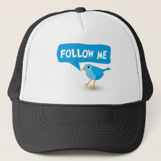 Follow Me Twitter Cute Little Blue Bird Custom Hat