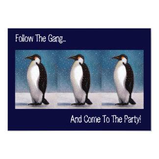 "FOLLOW PENGUINS: PARTY INVITATION: ARTWORK 5"" X 7"" INVITATION CARD"