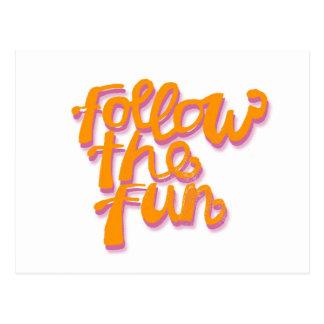 Follow the Fun lettering in orange and fuchsia Postcard