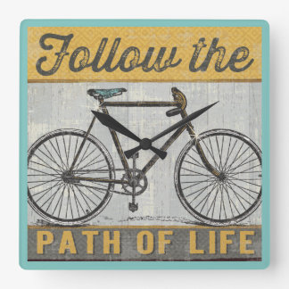 Follow The Path of Life Quote Square Wall Clock