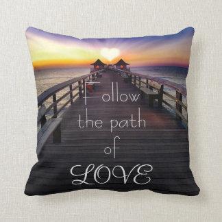 Follow the Path of Love Beach Pier Throw Pillow