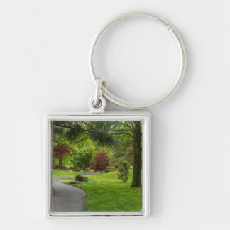 Follow The Path Pano Silver-Colored Square Keychain