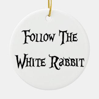 Follow the White Rabbit Alice Ceramic Ornament