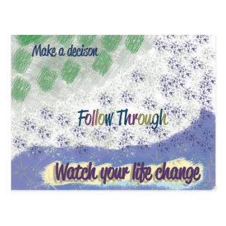 """""""Follow Through"""" inspirational postcard"""