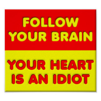 Follow Your Brain Funny Poster