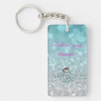 Follow your dreams, Glittery, Bokeh ,Elephant Double-Sided Rectangular Acrylic Keychain