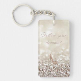 Follow your dreams, Glittery, Bokeh ,Heels, Double-Sided Rectangular Acrylic Keychain