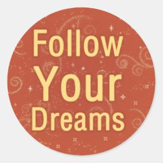 Follow Your Dreams on Orange Swirls Classic Round Sticker