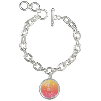 Follow Your Dreams Pink and Orange Inspirational Charm Bracelet
