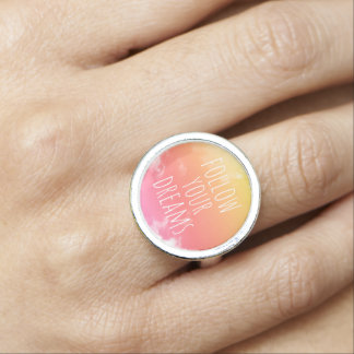 Follow Your Dreams Sunset Inspirational Quote Ring