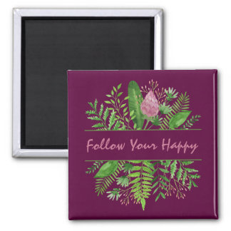 """Follow Your Happy"" Garden Botanical Magnet"