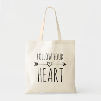 FOLLOW YOUR HEART canvas tote bag with quote