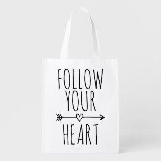 FOLLOW YOUR HEART cute quote reusable shopping bag Market Totes