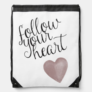 Follow Your Heart Drawstring Bag