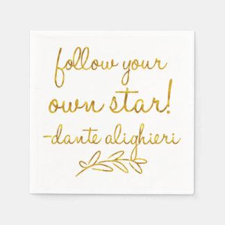 Follow Your Own Star Dante Gold Faux Foil Metallic Paper Napkins