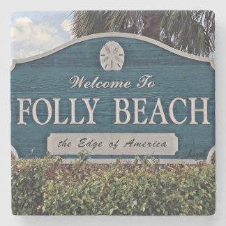 Folly Beach Sign, Marble Stone Coaster. Stone Coaster